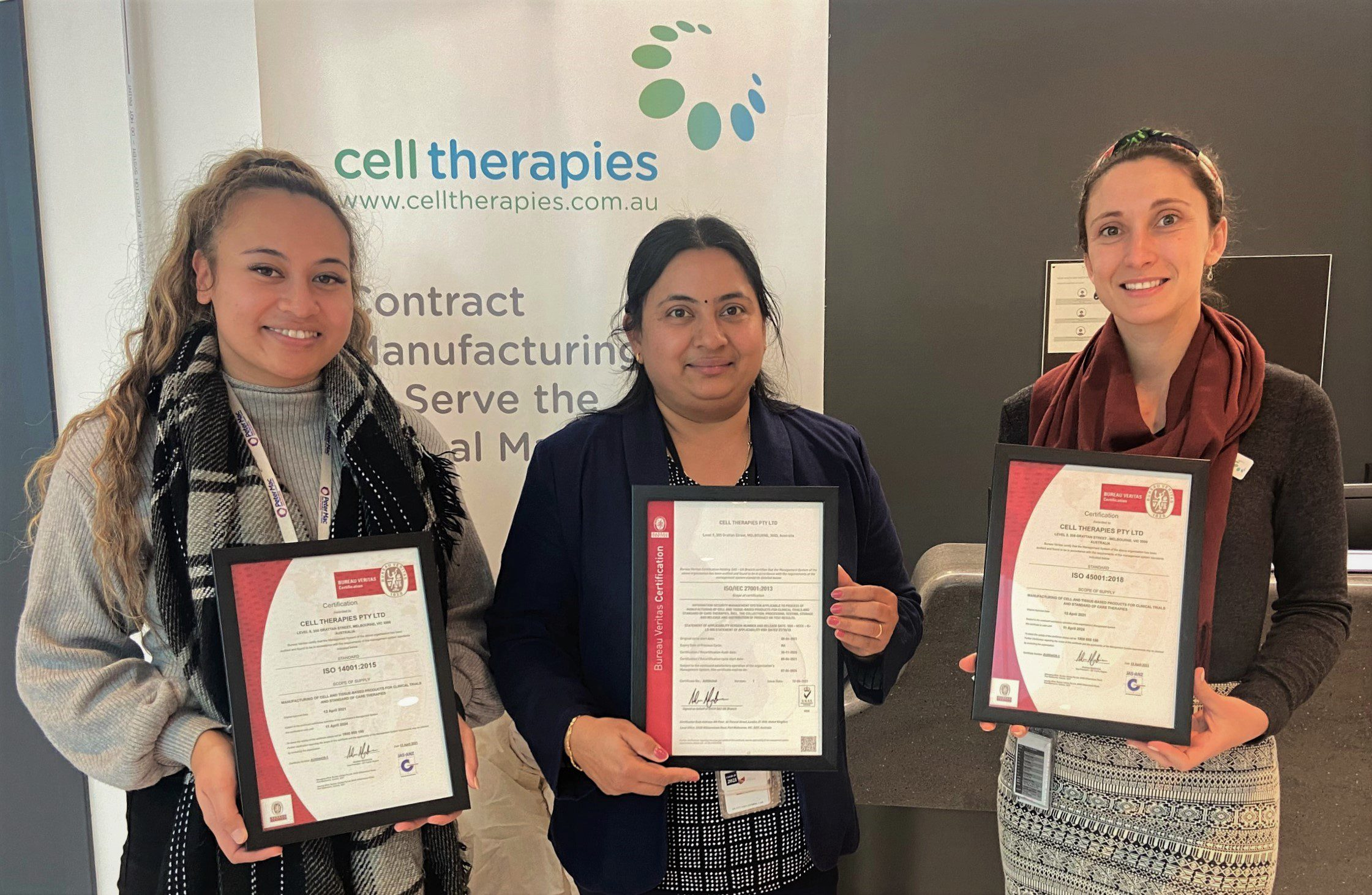 ISO certifications accredited to Cell Therapies Pty Ltd management systems